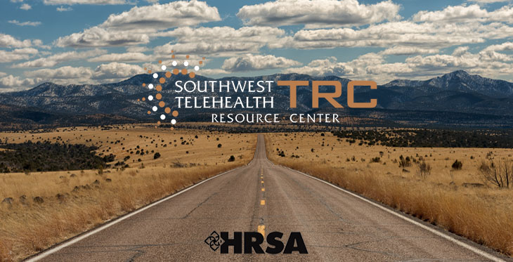 Image of a highway road with SWTRC and HRSA logos